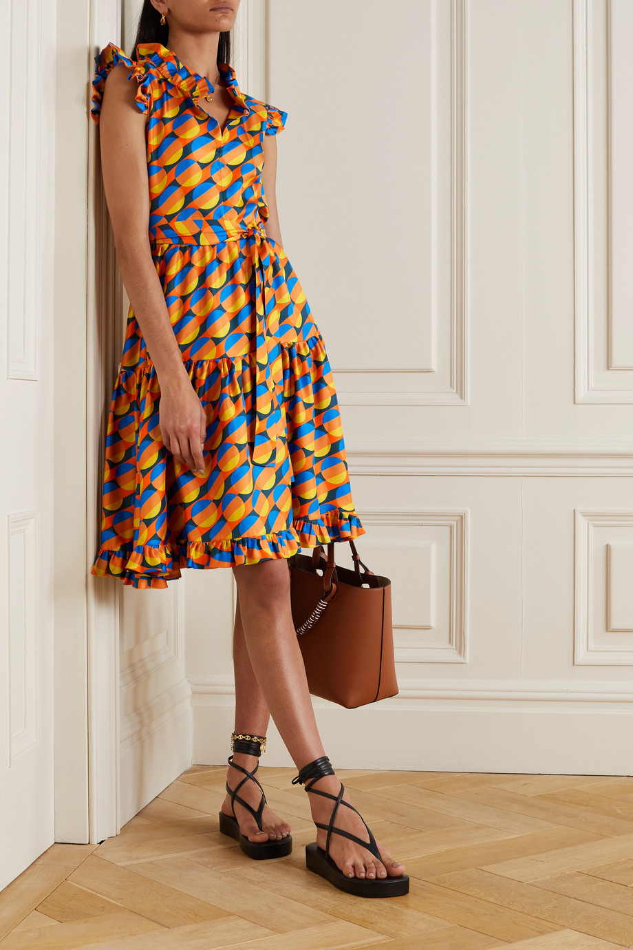 La DoubleJ Short and Sassy belted tiered printed silk-twill dress
