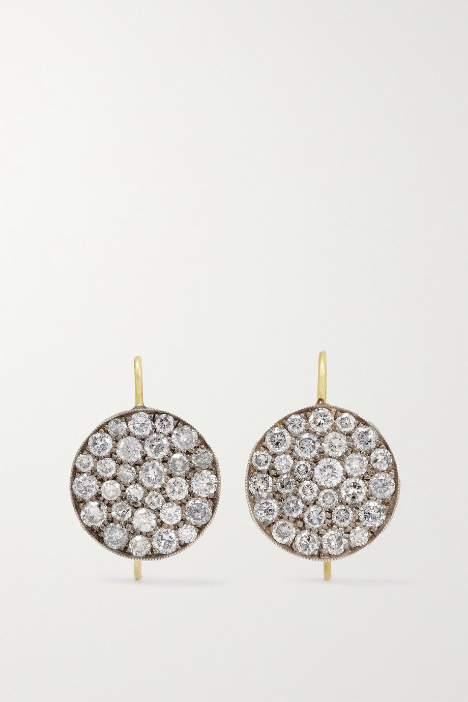 Sylva & Cie Ten Table 18-karat gold and sterling silver diamond earrings
