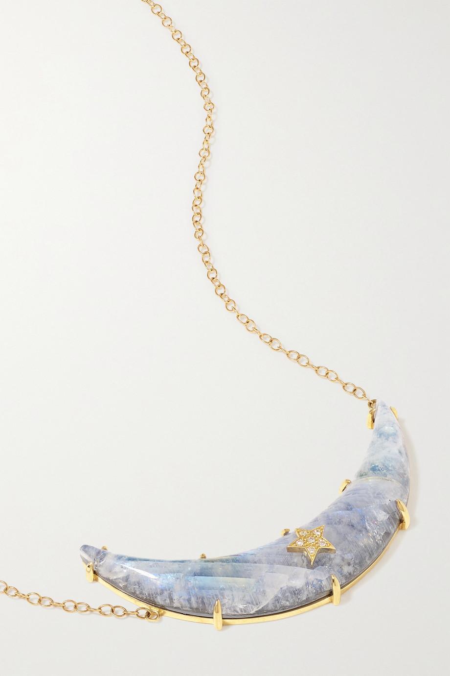 Andrea Fohrman Kette aus 14 Karat Gold mit Dublette aus mehreren Steinen