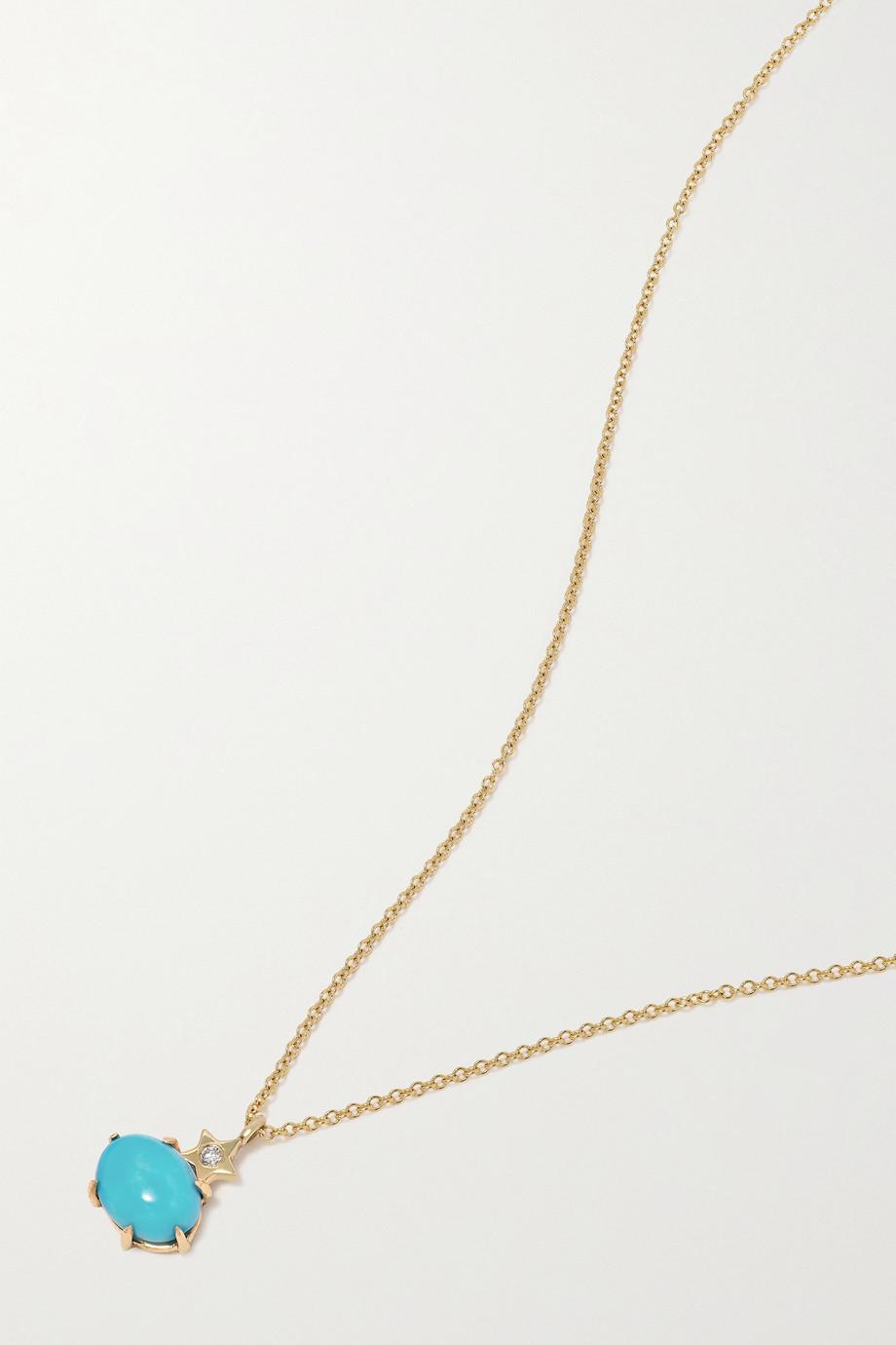 Andrea Fohrman Mini Cosmo Kette aus 14 Karat Gold mit Türkis und Diamant