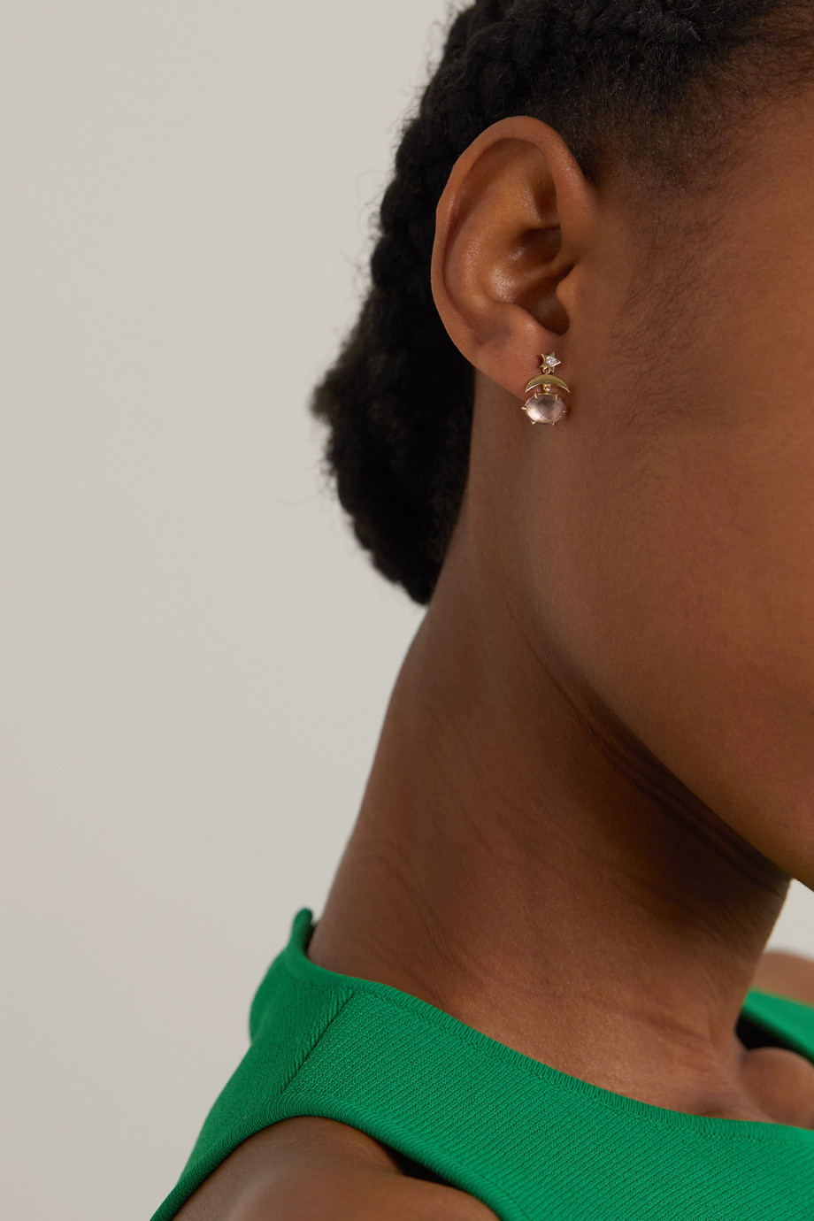 Andrea Fohrman Mini Cosmo 14-karat gold, amethyst and diamond earrings