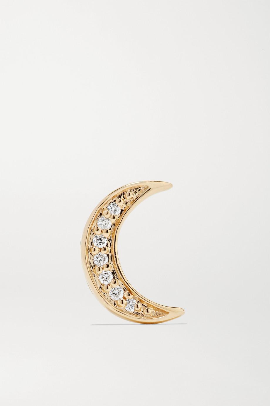 Andrea Fohrman Mini Crescent einzelner Ohrstecker aus 14 Karat Gold mit Diamanten