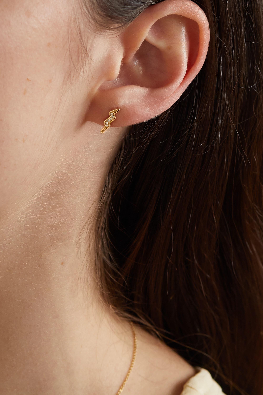 Andrea Fohrman Boucle d'oreille unique en or 14 carats (585/1000) et diamants Lightning Bolt Mini