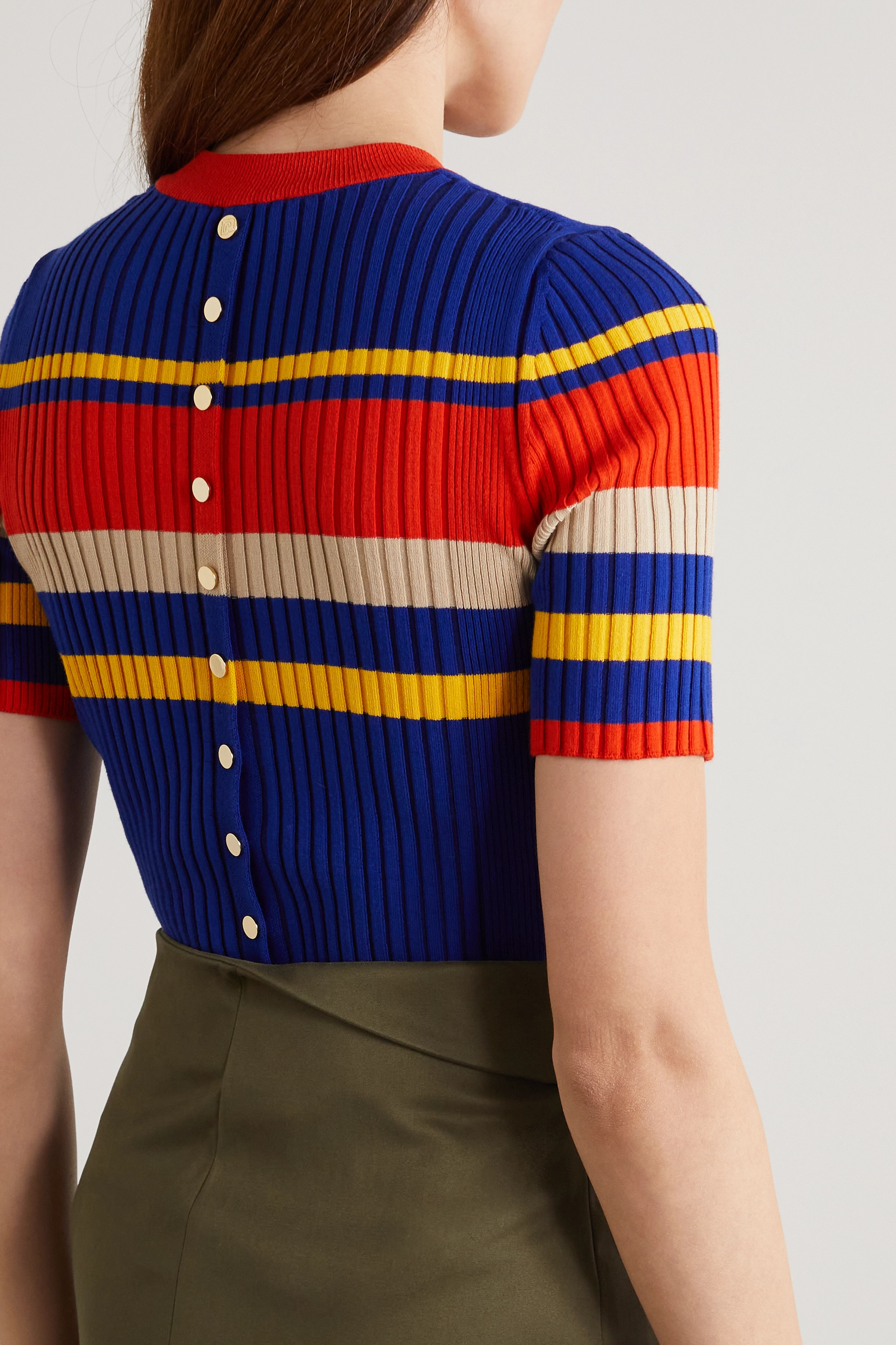 Paco Rabanne Striped ribbed cotton-blend T-shirt