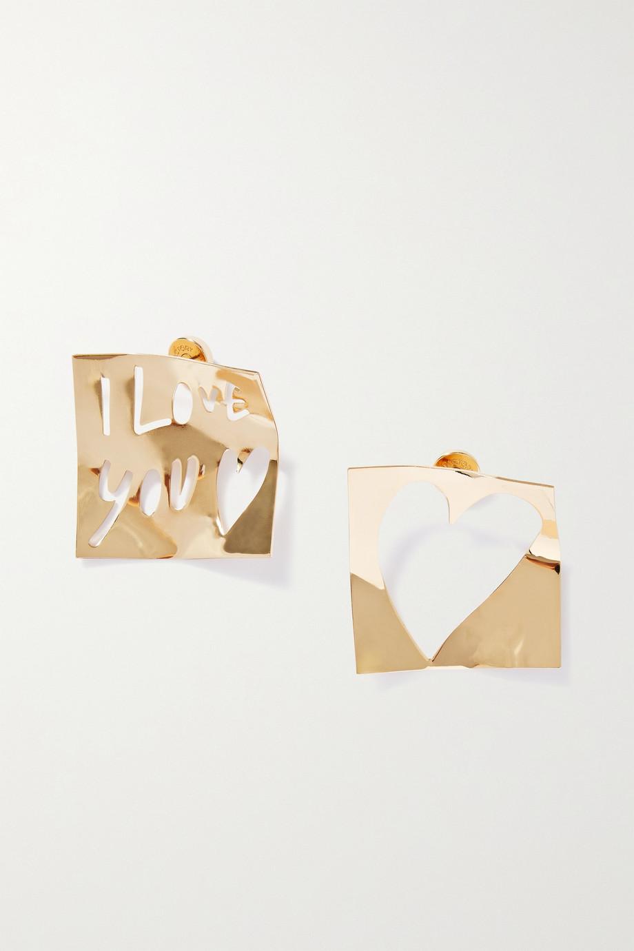 AZ Factory Alber's Love Note gold-tone earrings