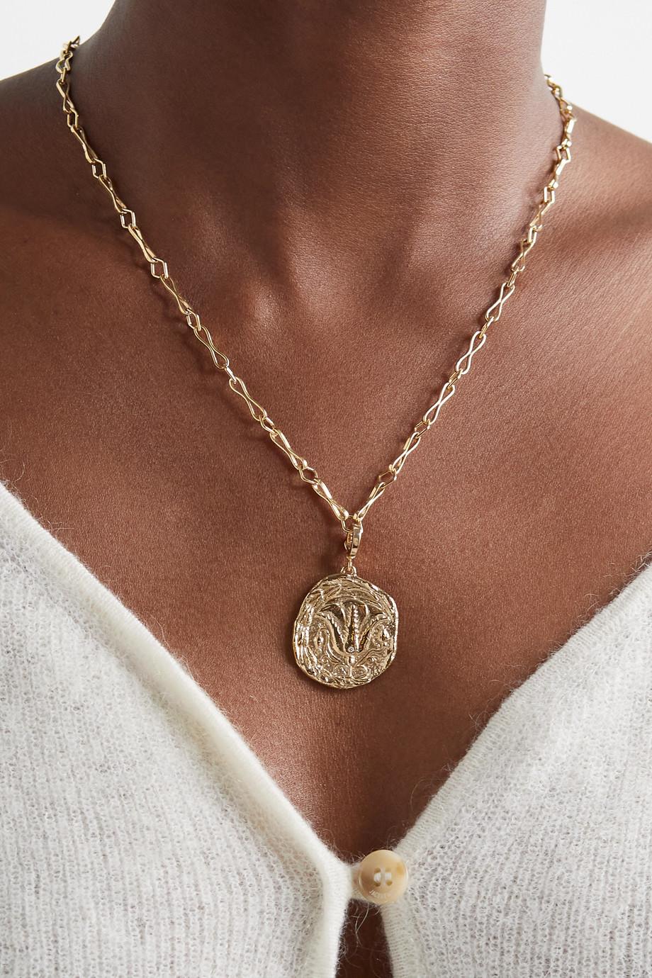 ᾹZLEE Of the Earth Kette aus 18 Karat Gold mit Smaragd und Diamanten