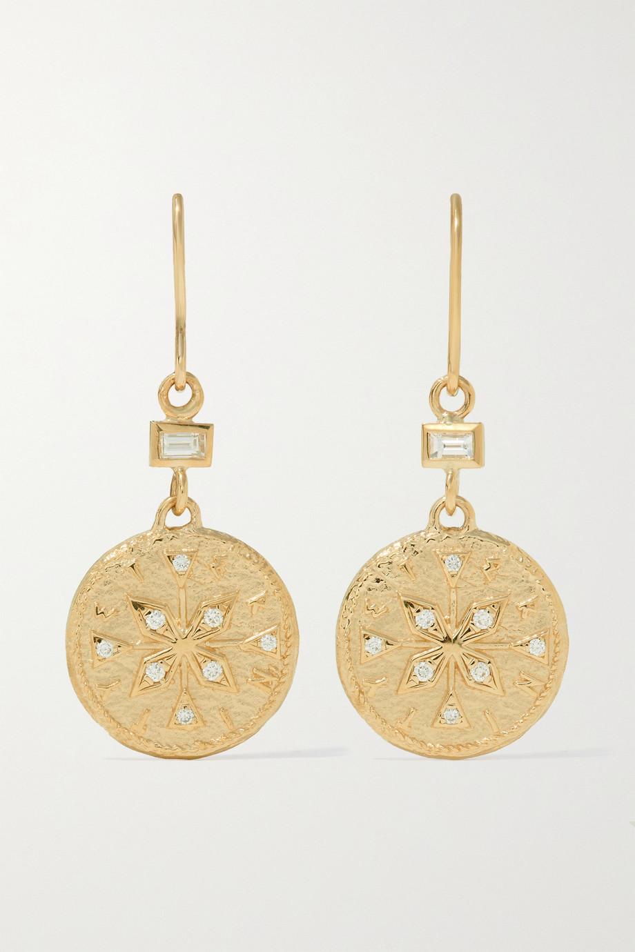 ᾹZLEE Compass 18-karat gold diamond earrings