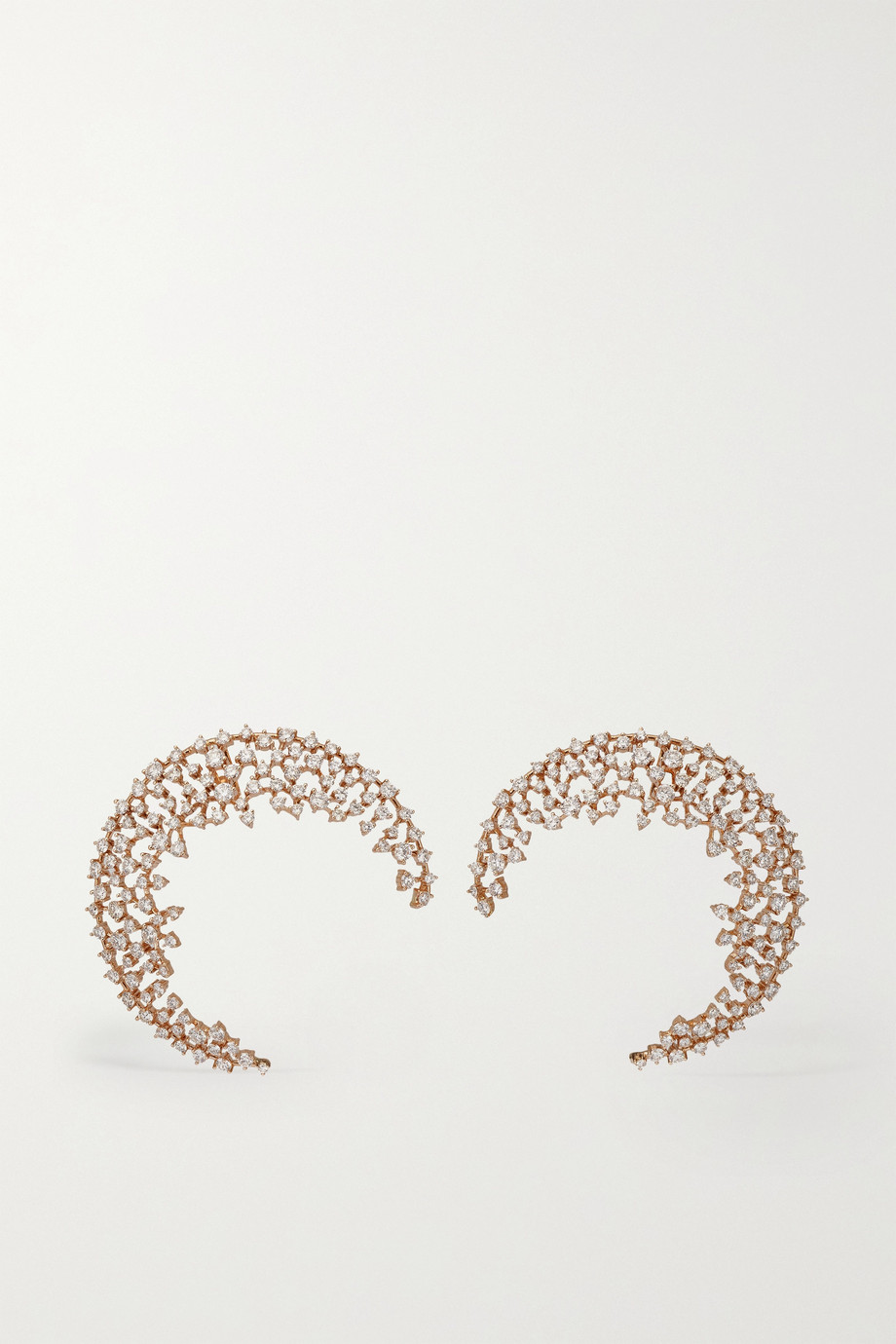 ANANYA Scatter Moon 18-karat rose gold diamond earrings
