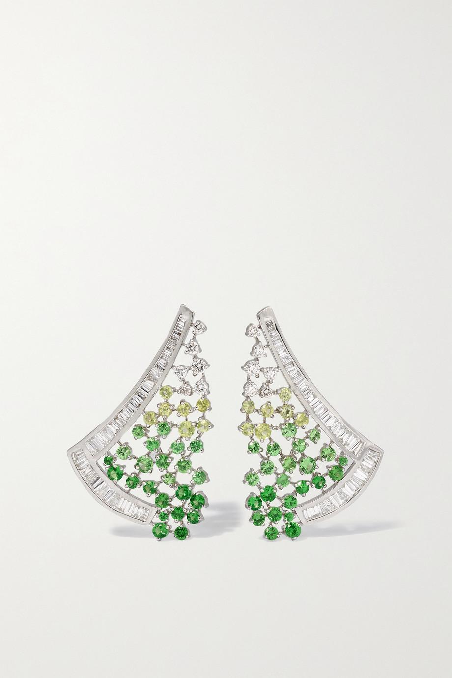 ANANYA Scatter 18-karat white gold multi-stone earrings