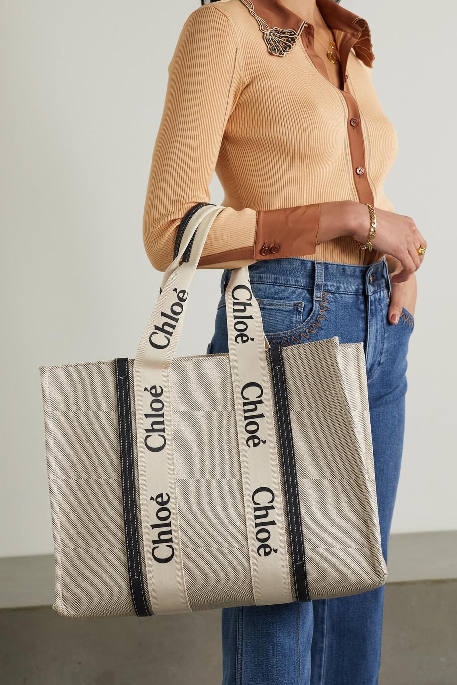 Chloé Sac à main en toile de coton à finitions en cuir Woody Large