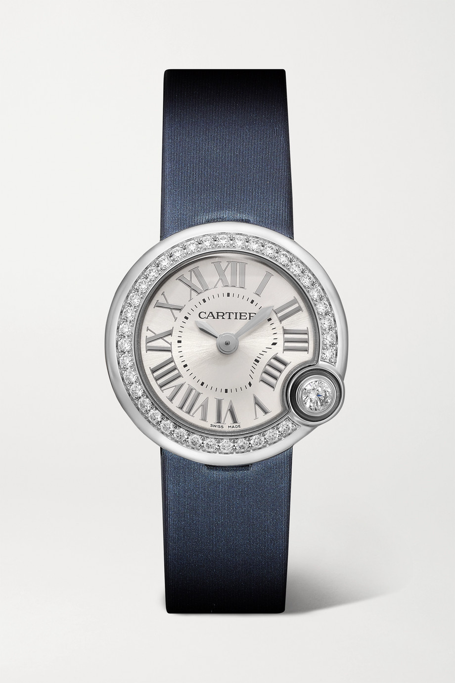 Cartier Ballon Blanc de Cartier 26 mm Uhr aus Edelstahl mit Lederarmband und Diamanten