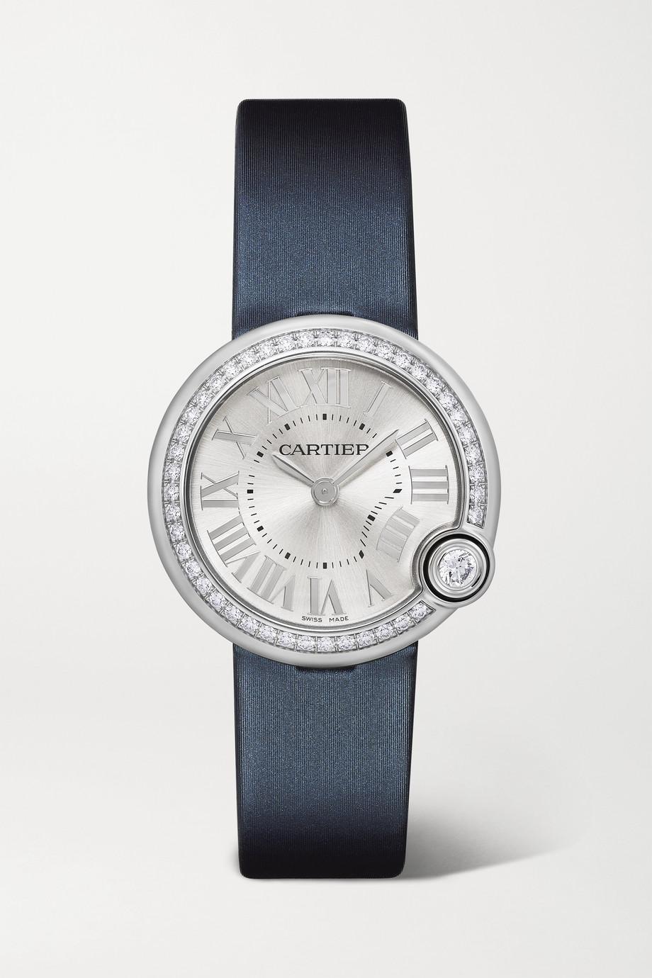 Cartier Ballon Blanc de Cartier 30 mm Uhr aus Edelstahl mit Lederarmband und Diamanten