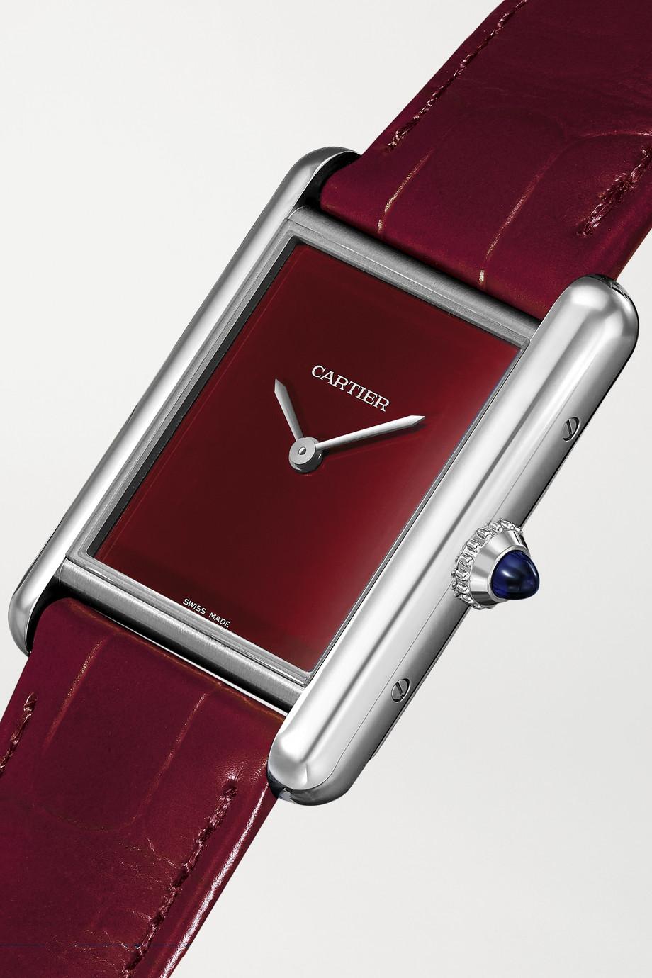 Cartier Tank Must 34 mm Uhr aus Edelstahl mit Alligatorlederarmband