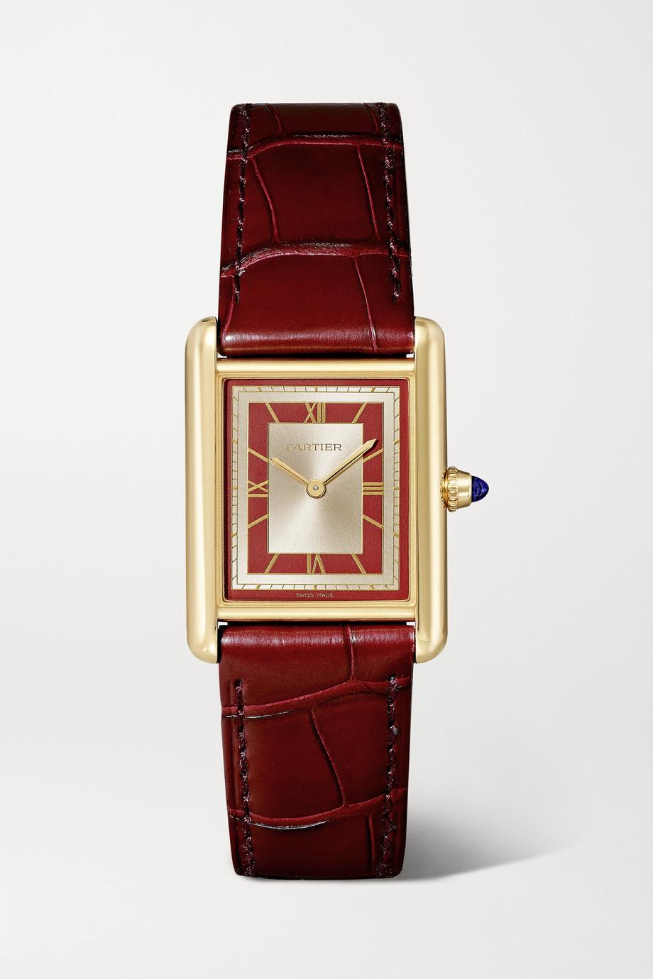 Cartier Montre à remontage manuel en or 18 carats (750/1000) à bracelet en alligator Tank Louis Large, 34 mm