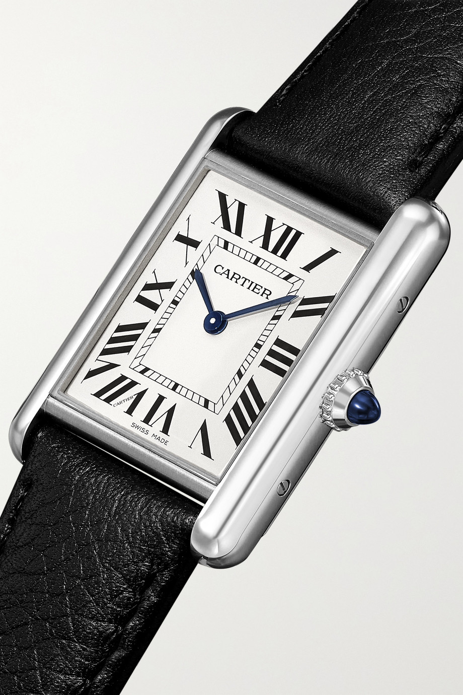 Cartier Tank Must 22 mm Uhr aus Edelstahl mit Armband aus strukturiertem Leder