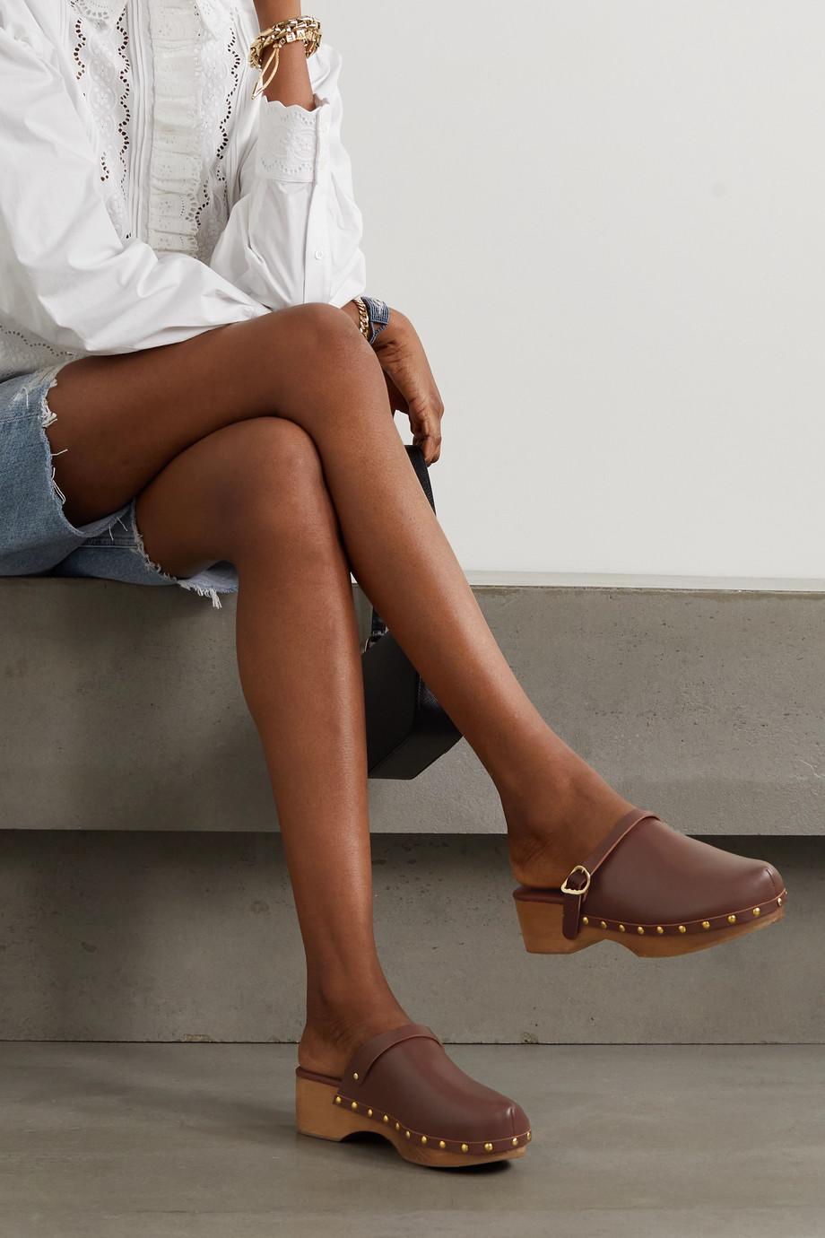 Ancient Greek Sandals Classic leather platform clogs