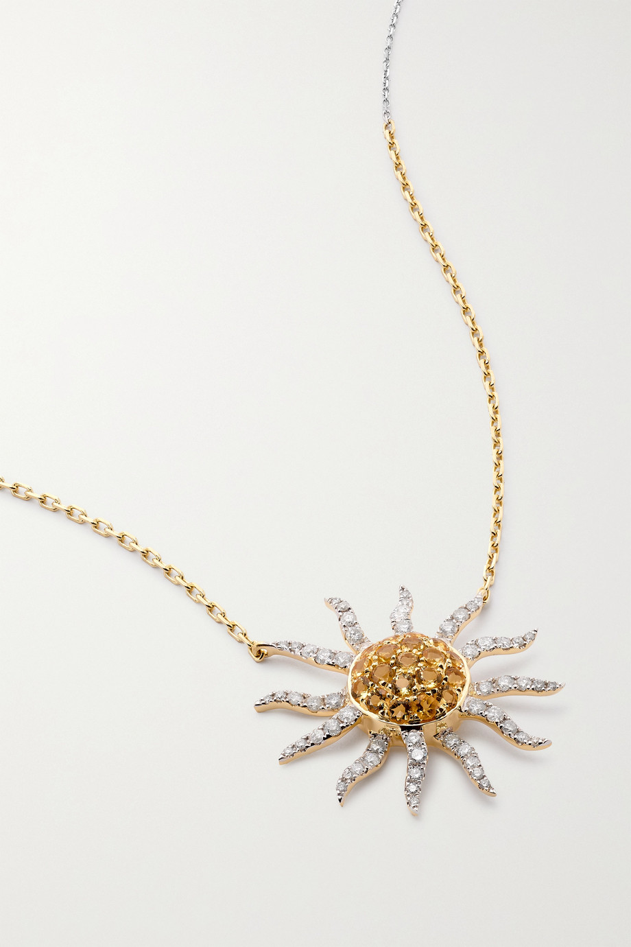 Yvonne Léon Collier Soleil 18-karat white and yellow gold, diamond and citrine necklace