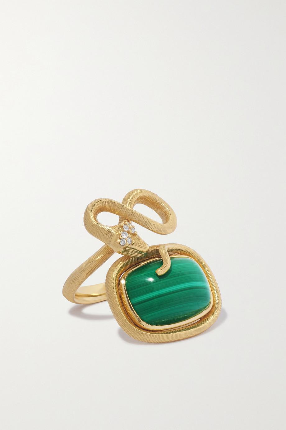 OLE LYNGGAARD COPENHAGEN Snakes 18-karat gold, malachite and diamond ring