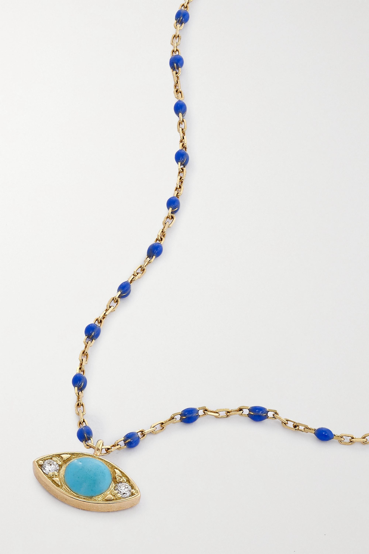 gigi CLOZEAU Eye Mini Gigi Kette aus 18 Karat Gold mit Details aus Harz und Diamanten