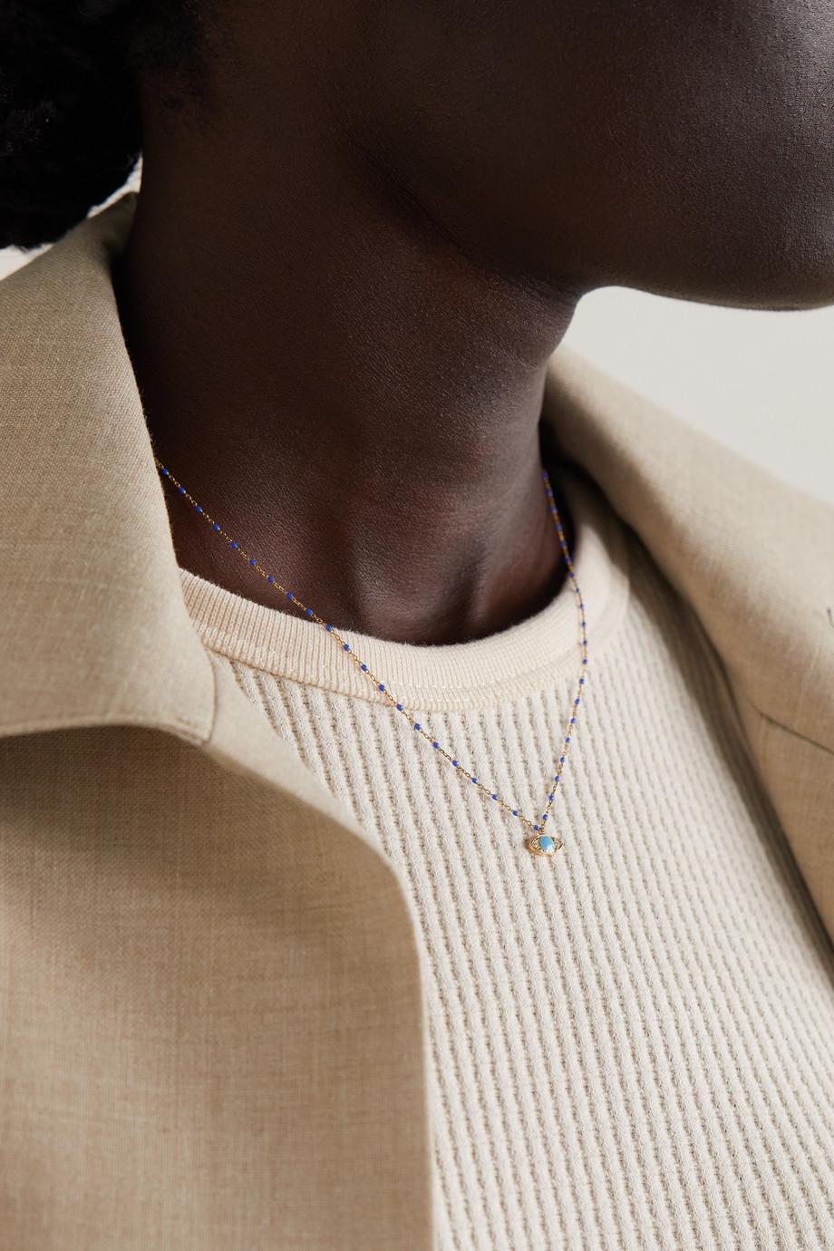 gigi CLOZEAU Eye Mini Gigi 18-karat gold, resin and diamond necklace