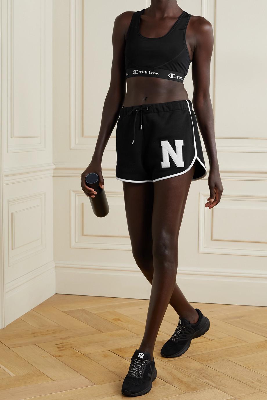 Nili Lotan + Champion appliquéd cotton-jersey shorts