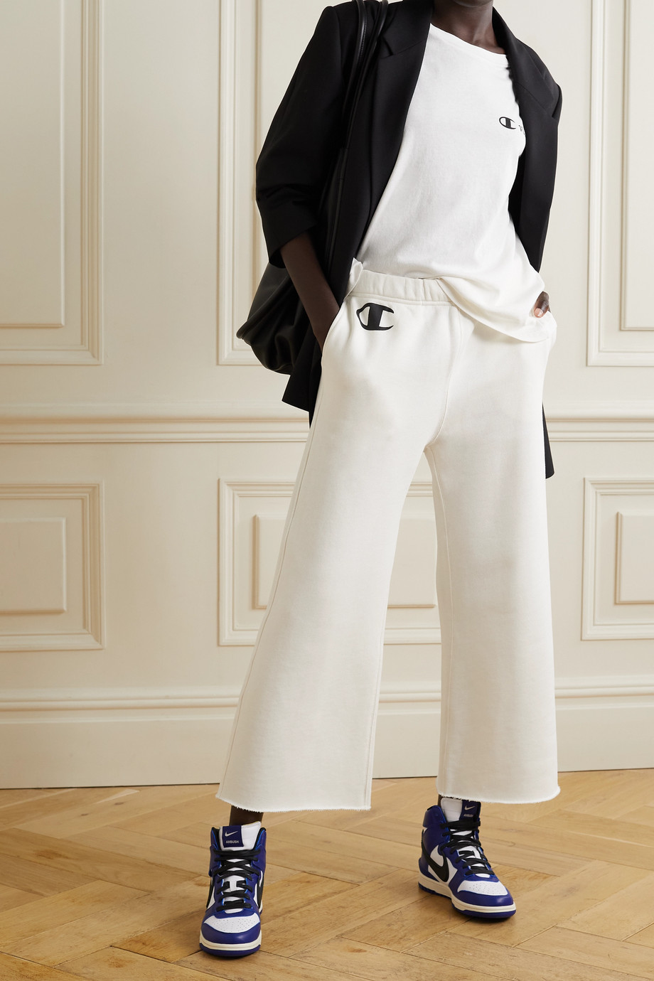 Nili Lotan + Champion printed cotton-jersey track pants