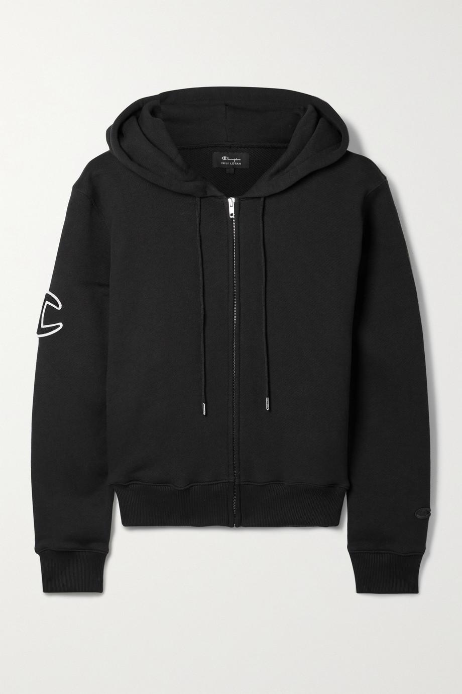 Nili Lotan + Champion appliquéd cotton-jersey hoodie