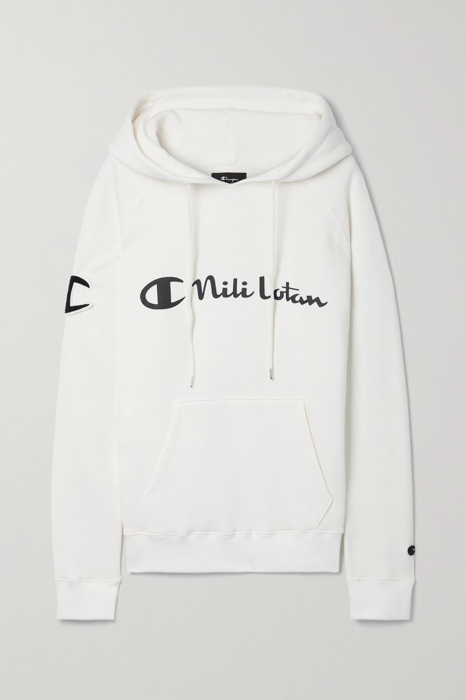 Nili Lotan + Champion printed cotton-jersey hoodie