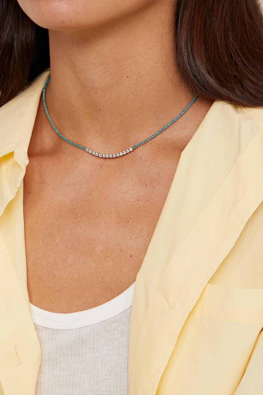 Jennifer Meyer Kette aus 18 Karat Gold mit Türkisen und Diamanten