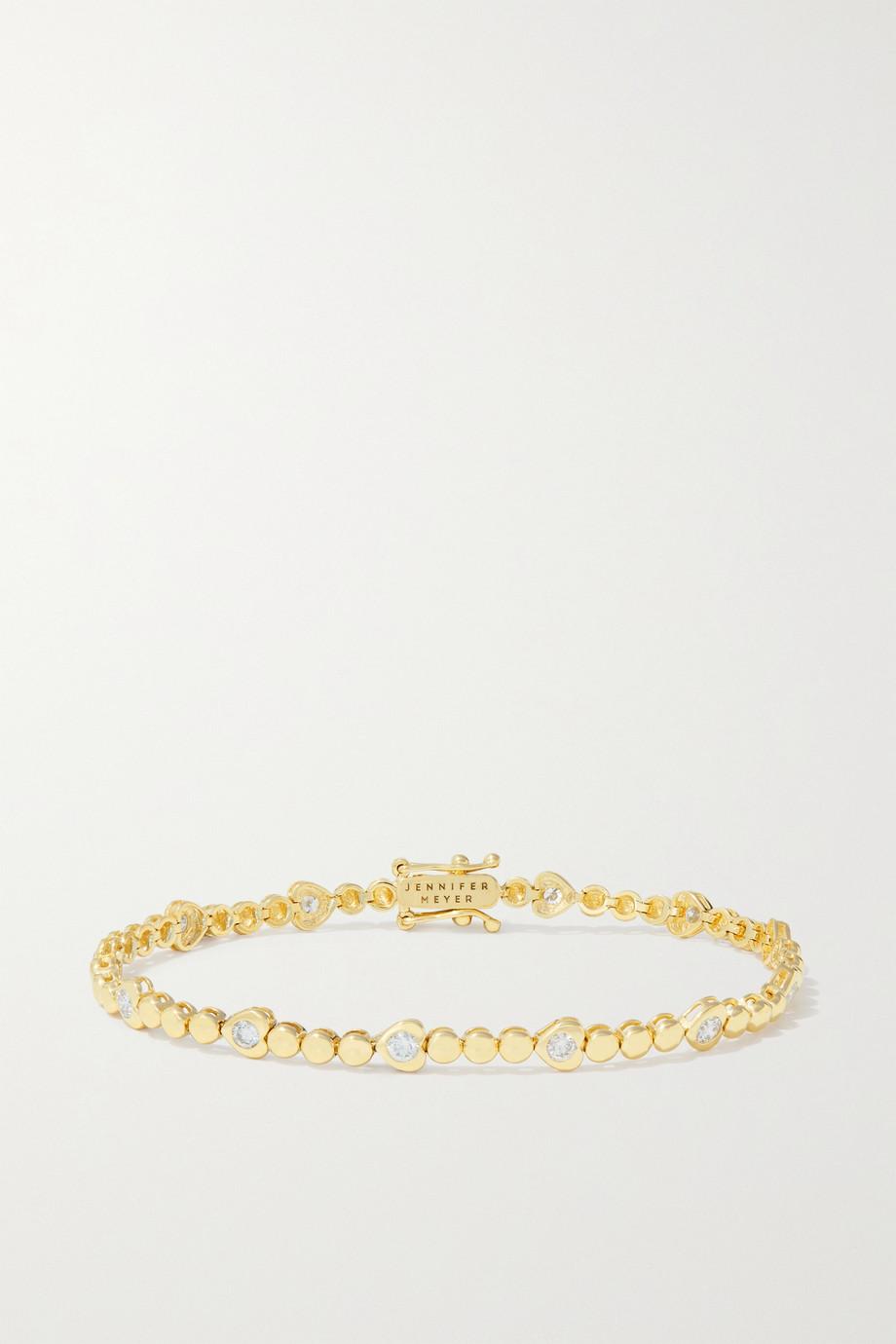 Jennifer Meyer Mini Bezel and Heart 18-karat gold diamond bracelet