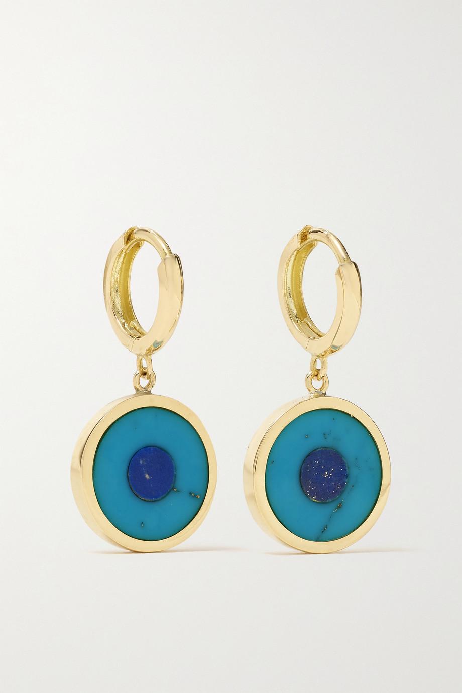Jennifer Meyer Mini Evil Eye 18-karat gold, turquoise and lapis lazuli hoop earrings