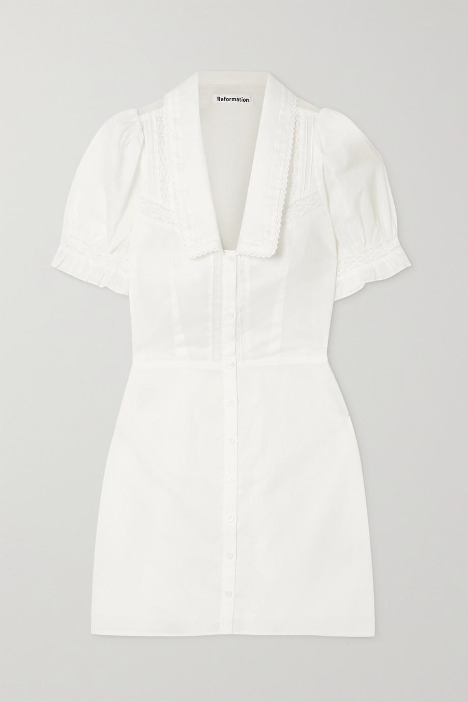 Reformation + NET SUSTAIN Jack lace-trimmed organic cotton-voile mini dress