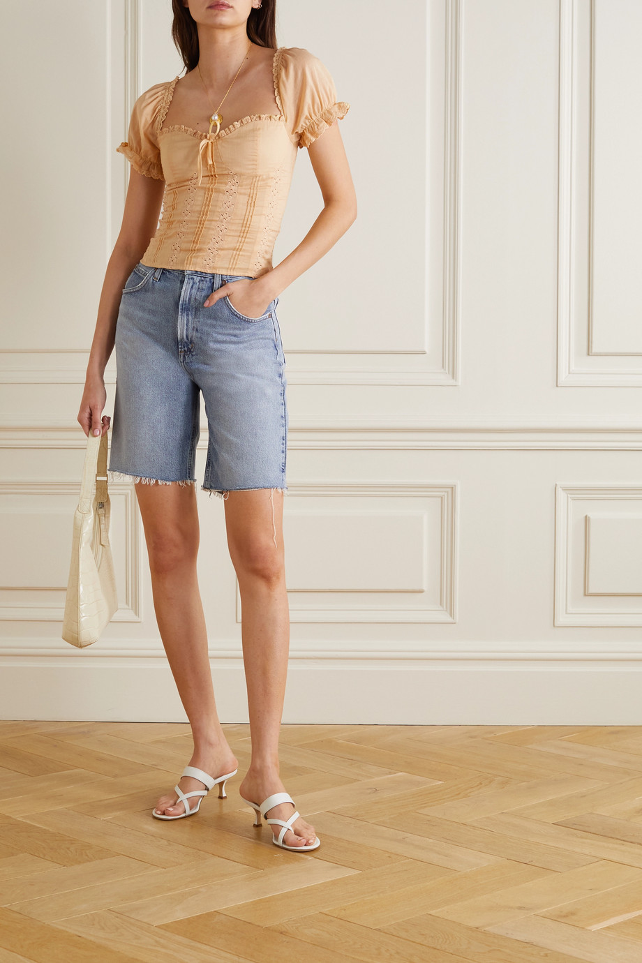 Reformation + NET SUSTAIN Miraflores broderie anglaise organic cotton top