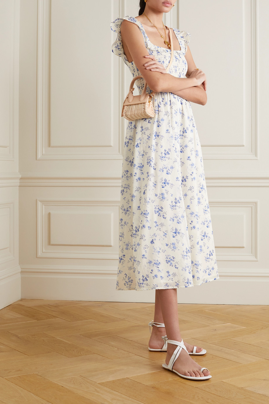 Reformation Noreen shirred floral-print organic-cotton voile midi dress