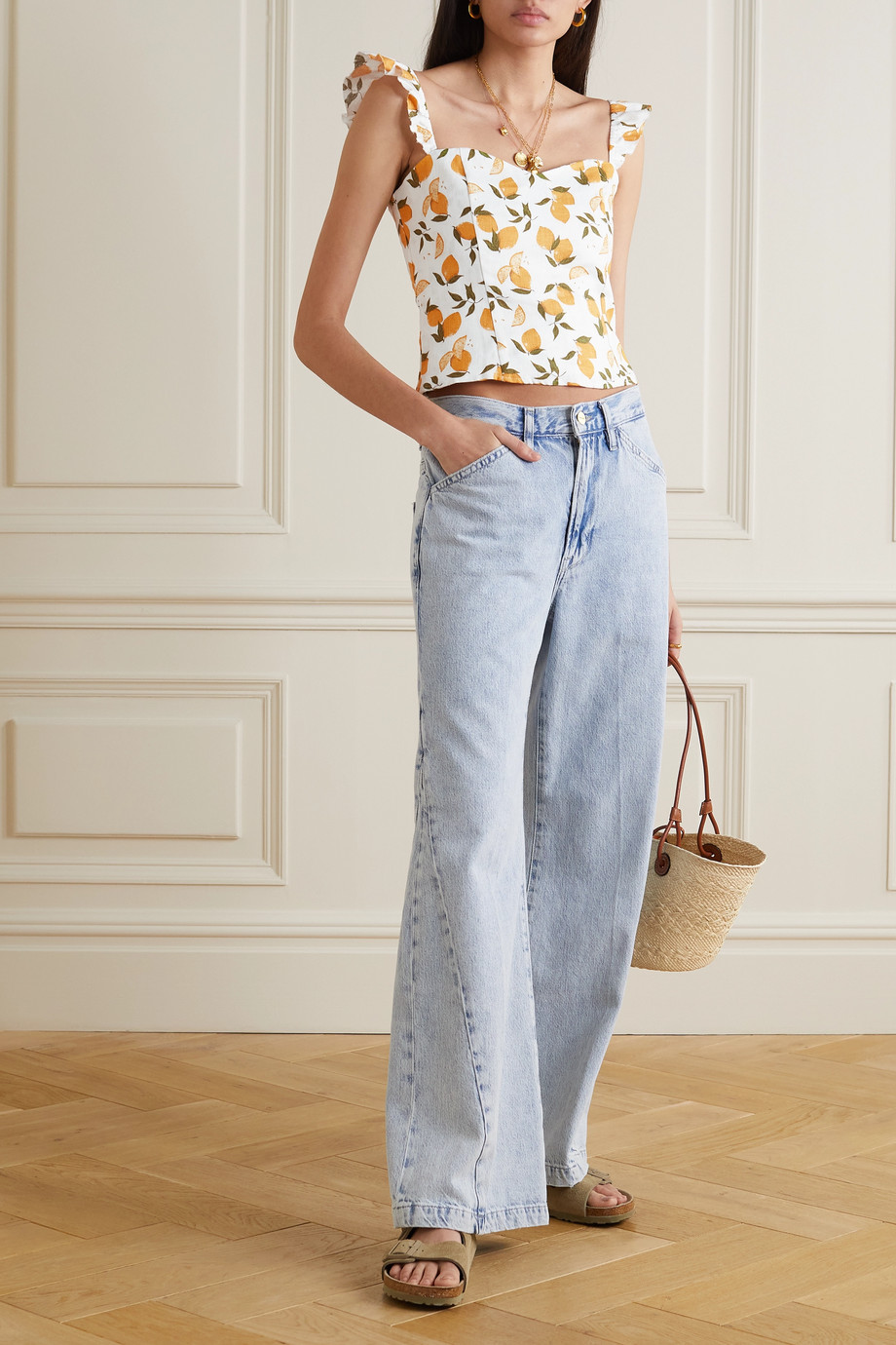 Reformation Brittany ruffled printed linen top