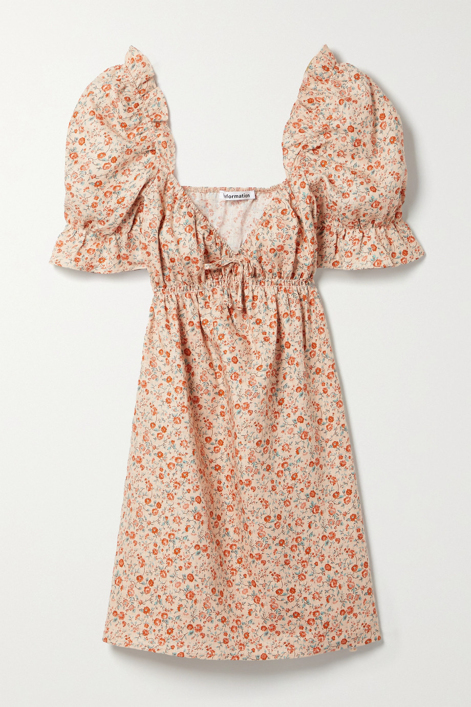 Reformation + NET SUSTAIN Channa Minikleid aus Leinen mit Blumenprint und Rüschen