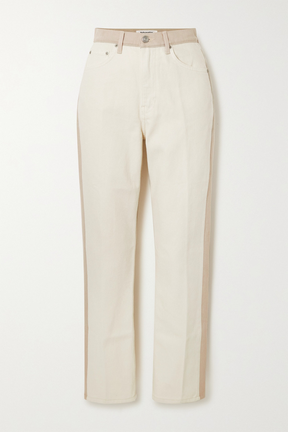 Reformation + NET SUSTAIN Cynthia cropped two-tone organic high-rise straight-leg jeans