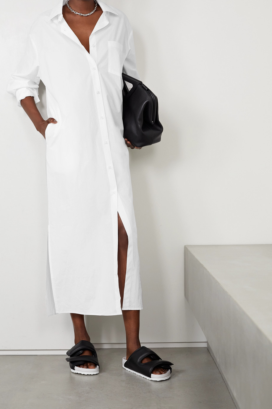 Frankie Shop Cala Oversized-Midi-Hemdblusenkleid aus Biobaumwollpopeline