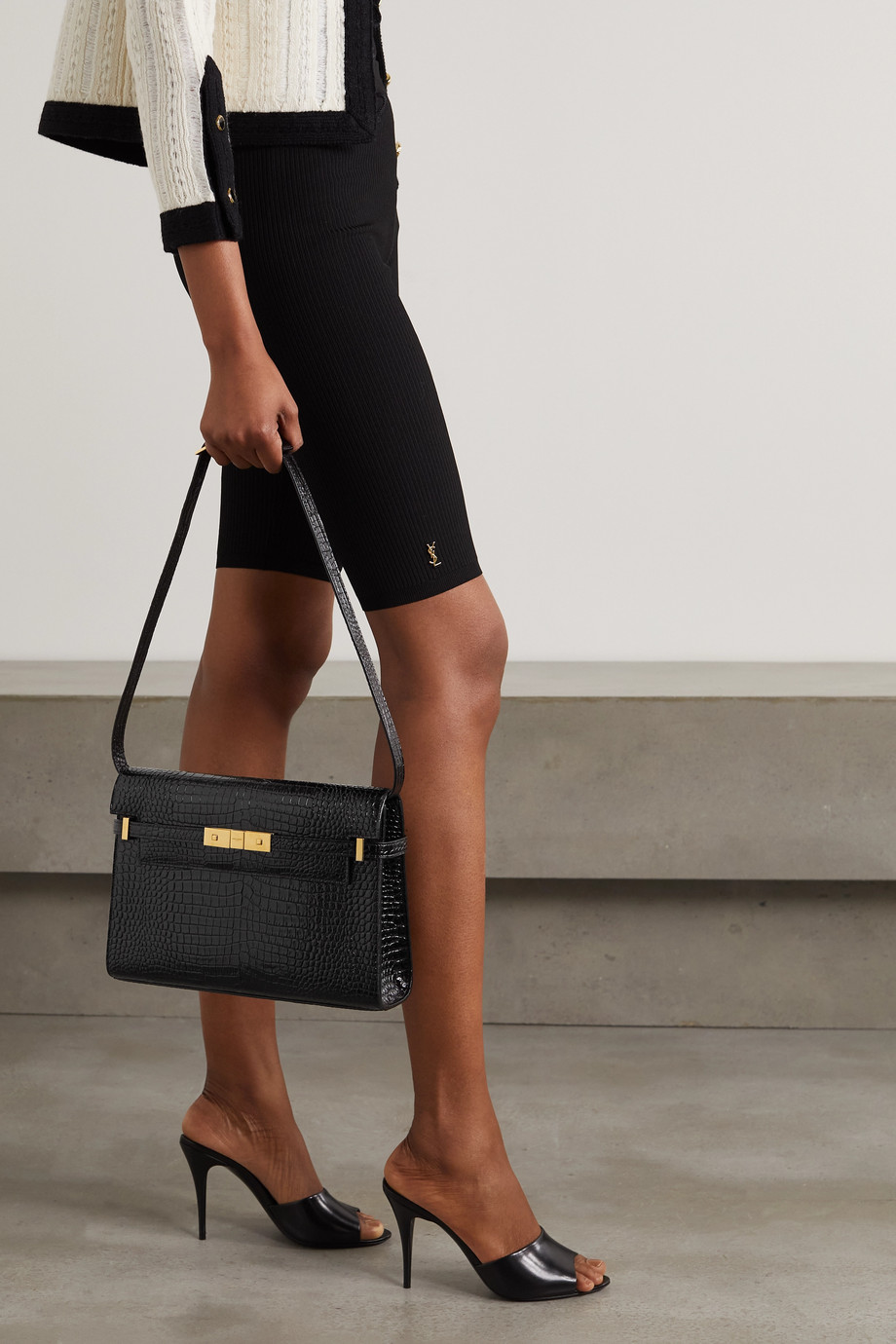 SAINT LAURENT Manhattan croc-effect patent-leather shoulder bag
