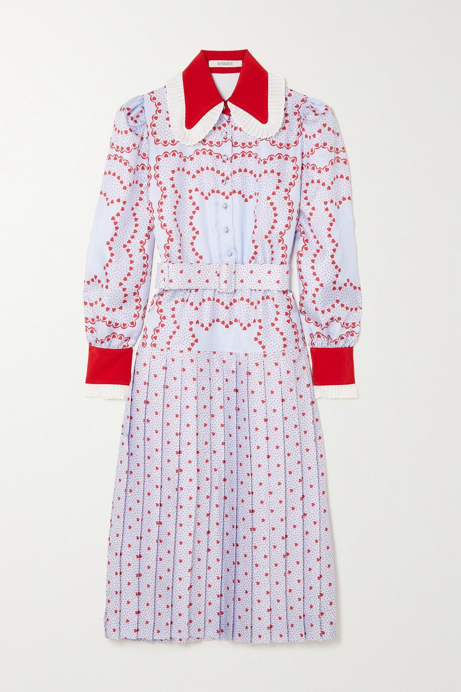 Rodarte Robe midi en serge de soie imprimée à plis et à ceinture