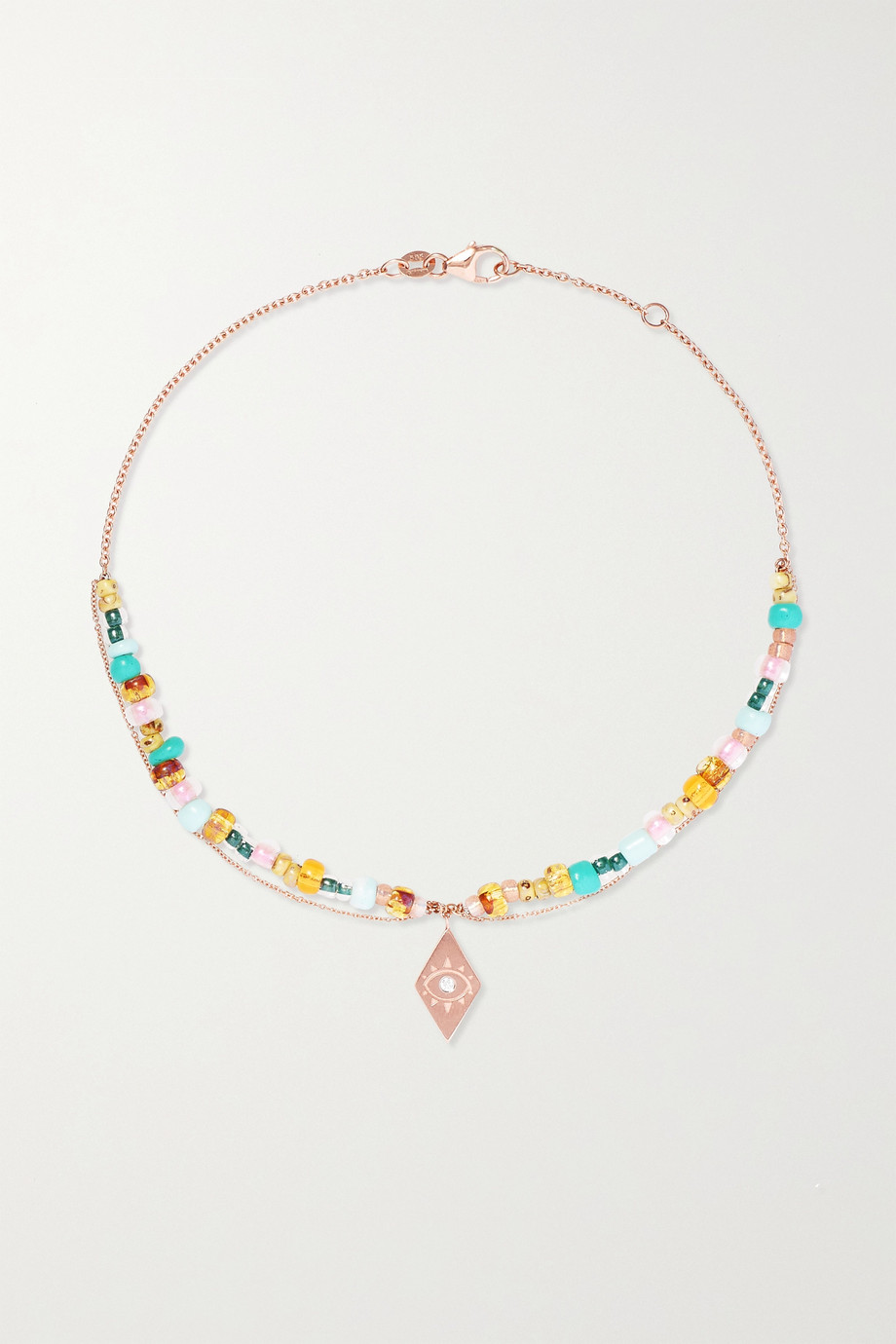 Diane Kordas 14-karat rose gold, enamel, amber and diamond anklet