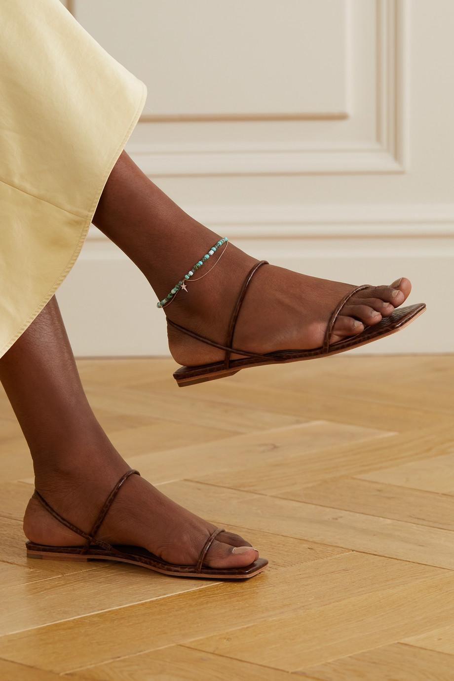 Diane Kordas Star 14-karat rose gold, enamel,  turquoise and diamond anklet