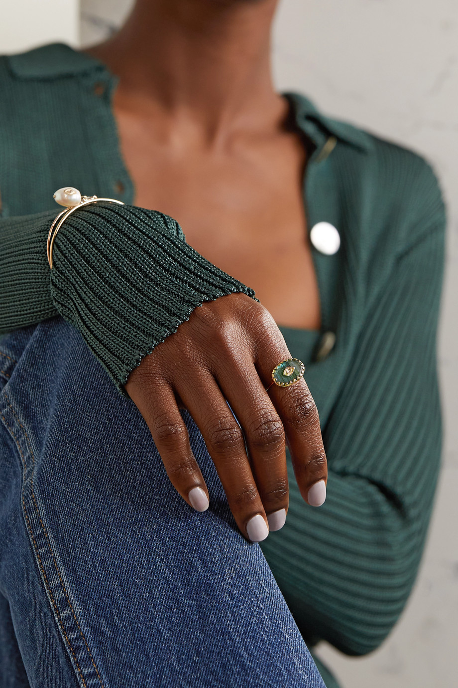 Pascale Monvoisin Souad 9-karat gold, labradorite and diamond ring