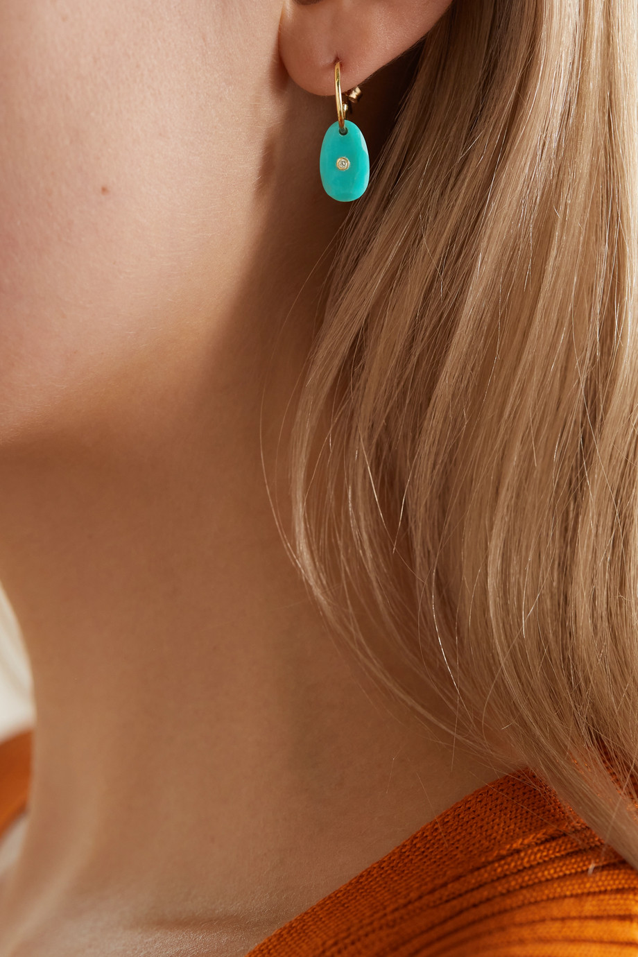 Pascale Monvoisin Orso 9-karat gold, turquoise and diamond earring