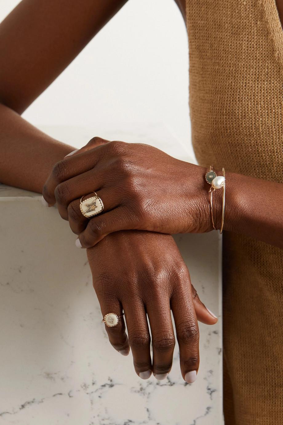 Pascale Monvoisin Varda N°1 9-karat gold, sterling silver, bakelite and diamond ring