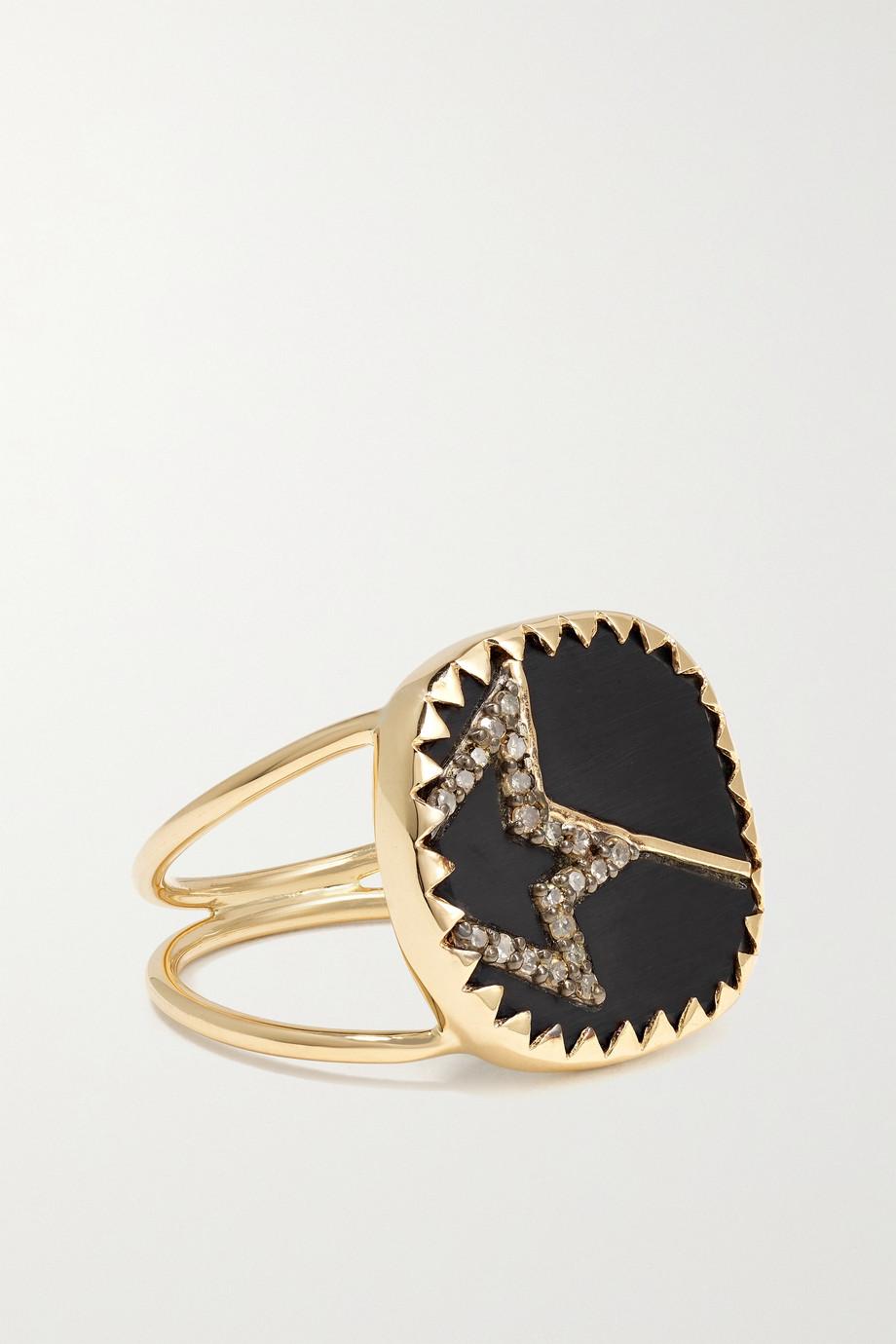 Pascale Monvoisin Varda N°2 9-karat gold, sterling silver, bakelite and diamond ring