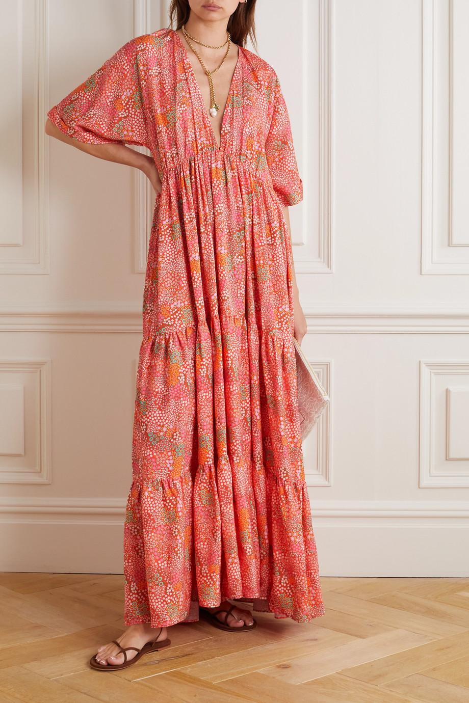 Eywasouls Malibu Robe longue en serge de Lyocell TENCEL à imprimé fleuri Amelia