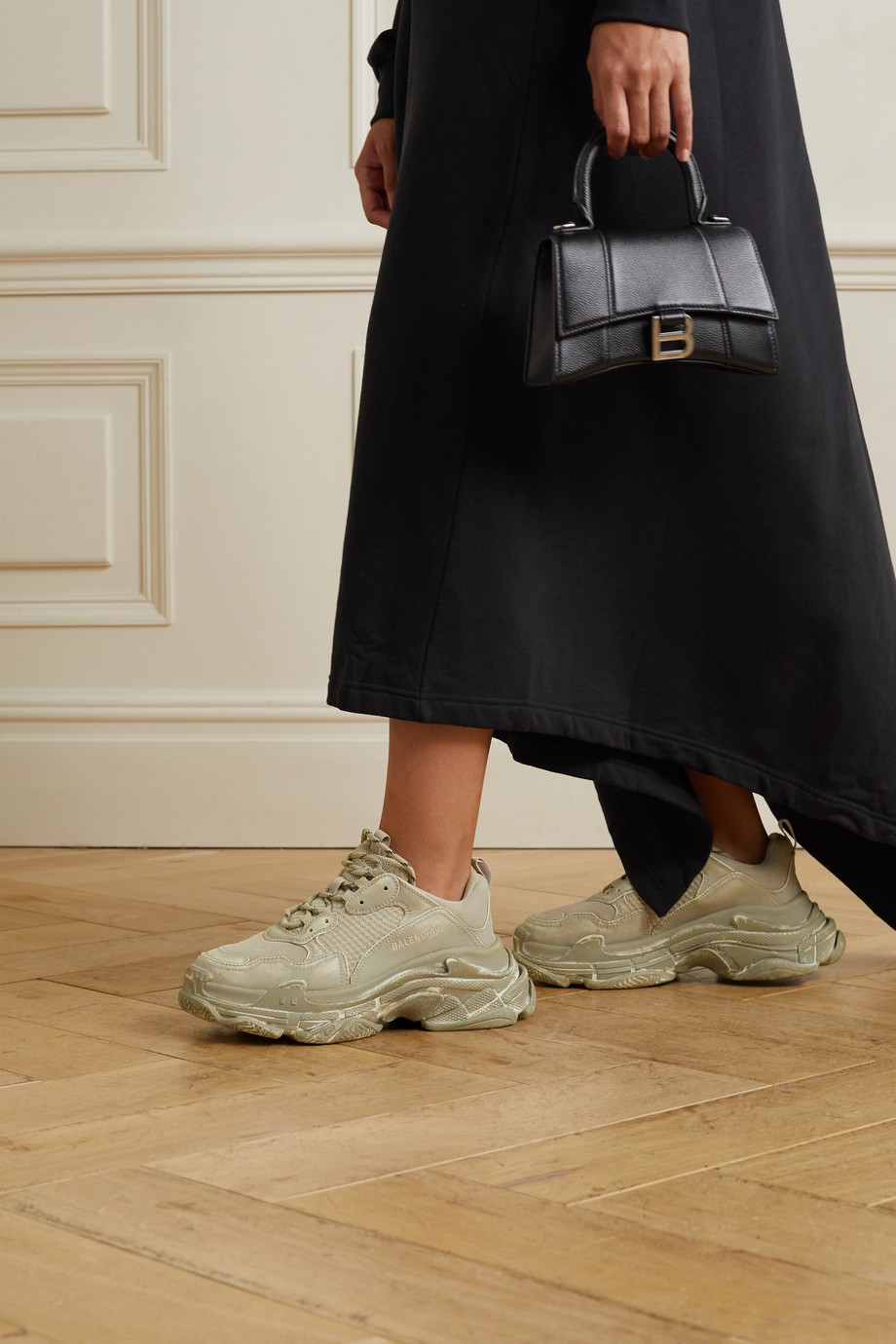 Balenciaga Triple S logo-embroidered distressed  leather and mesh sneakers