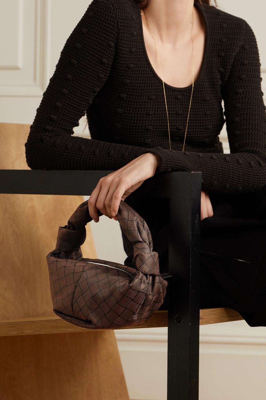 Bottega Veneta Jodie mini Tote aus Jacquard mit Lederbesatz und Knoten