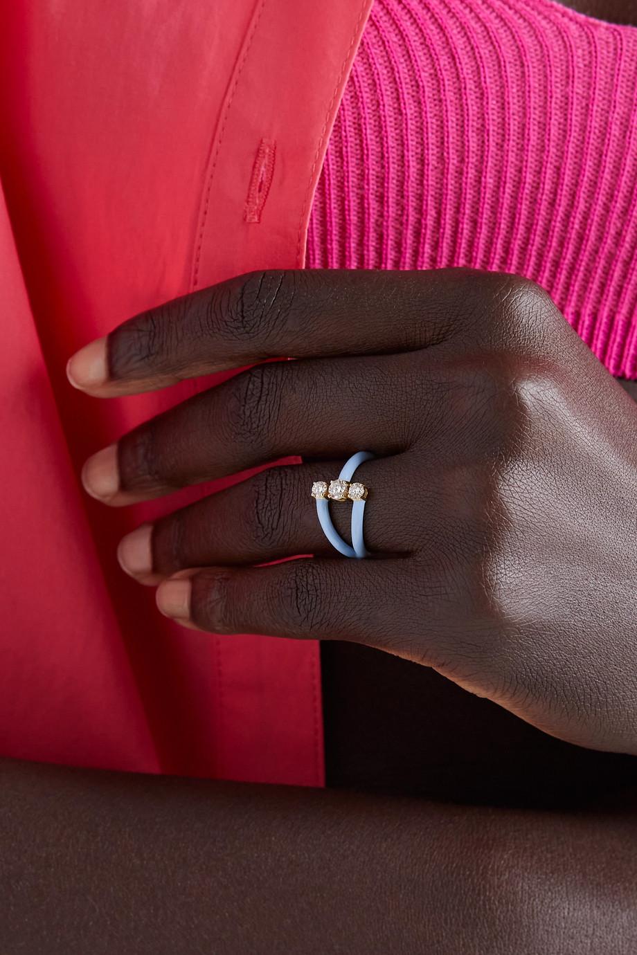 Melissa Kaye Aria Moon 18-karat gold, enamel and diamond ring